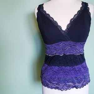 Bisou Bisou Purple Black Lacy Top
